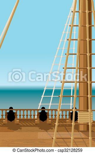 bateau, vieux, pont - csp32128259
