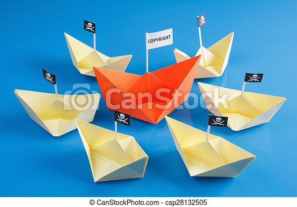 Bateaux Bateau Plusieurs Pirate Gai Drapeau Papier Noir Origami Vaisseau Roger Bateau Plusieurs Pirate Canstock