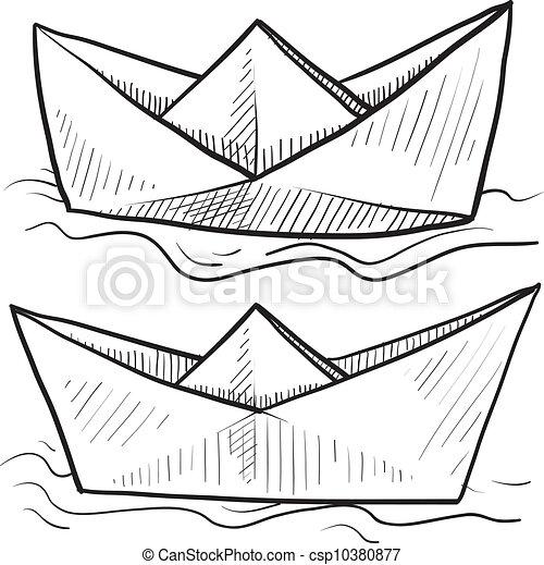 Bateaux Croquis Papier Style Griffonnage Format Plie Eau Vecteur Papier Origami Flotter Bateau Canstock