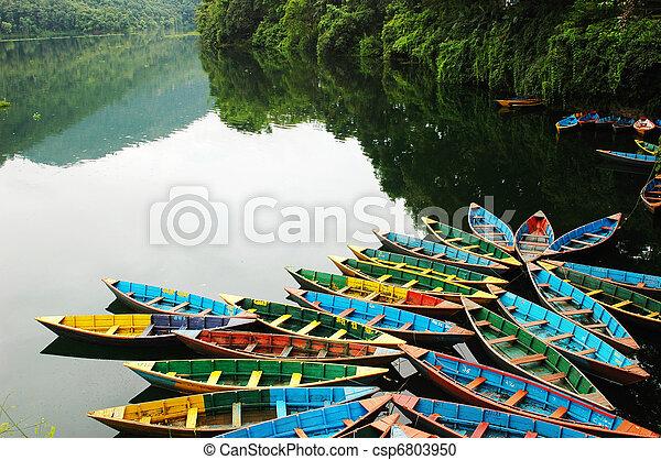 bateaux, lakeside, tour, coloré - csp6803950