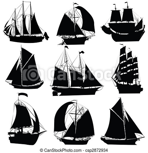Bateaux Voile Collection Voile Collection Bateaux Isole Silhouettes Objets Fond Blanc Canstock