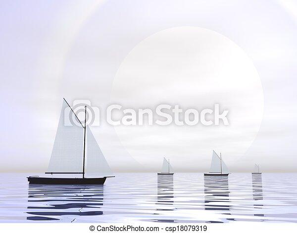 bateaux, -, voile, render, 3d - csp18079319