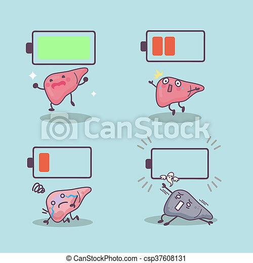 batería, caricatura, hígado. lindo, grande, concepto, fotos de