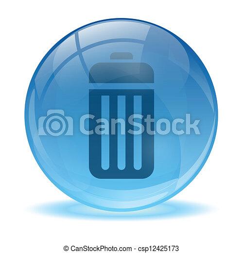 Icono de la batería de una esfera de vidrio 3D - csp12425173