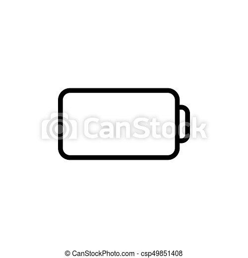 bateria, kreska, cienki, ikona - csp49851408