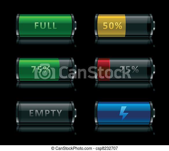 bateria, nível, jogo, ícones - csp8232707