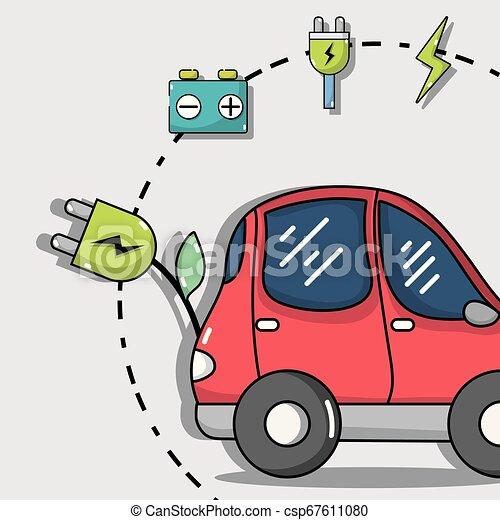 bateria, wóz, technologia, elektryczny, recharge - csp67611080