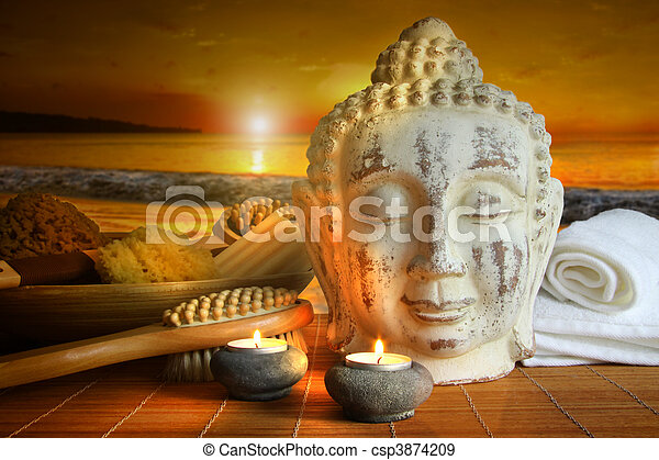 Bath accessories with buddha statue at sunset - csp3874209