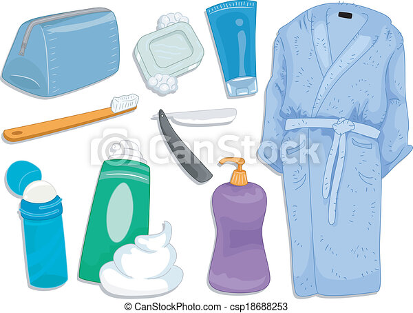 Bath elements. Illustration featuring different items and toiletries commonly used ...