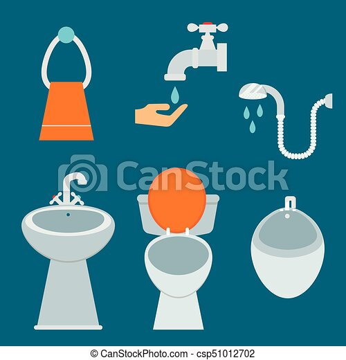 Bath Equipment Icon Toilet Bowl Bathroom Clean Flat Style Illustration Hygiene Design Isolated Vector Symbols Of Mirror Sink Shower Soap Towel