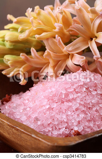 Bath salt in a wooden bowl - csp3414783
