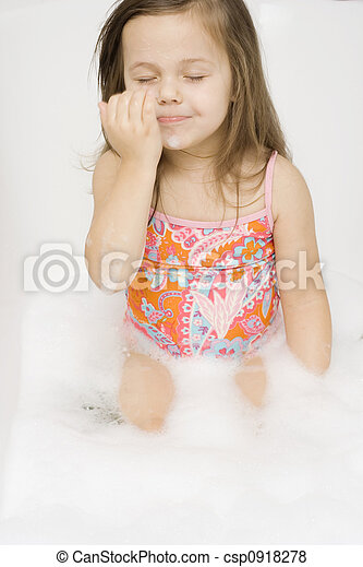 Bath Time Little Girl Wearing Swimsuit Playing I The Bathtub