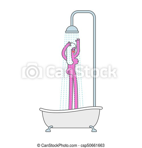 Bath With Shower And Girl Bathroom Woman Vector Illustration