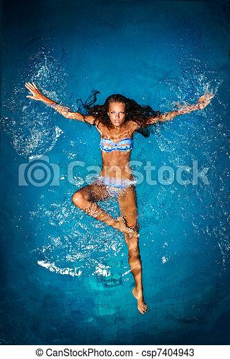 Bathing in blue. - csp7404943