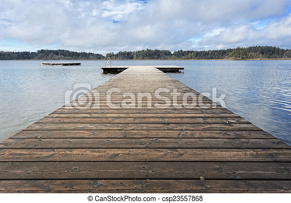 Bathing jetty on a lake in Bavaria, Germany - csp23557868
