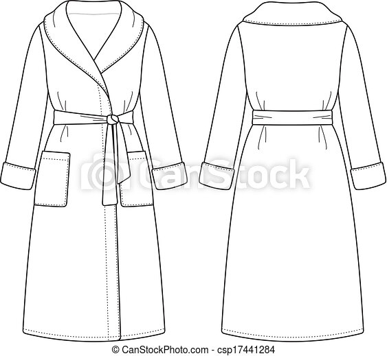 Bathrobe Vector Illustration Of Womens Front And Back Views