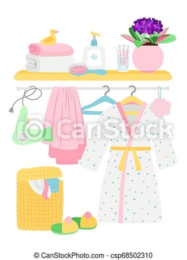 Bathroom accessories, hygiene items, bathrobe, laundry basket vector illustration - csp68502310