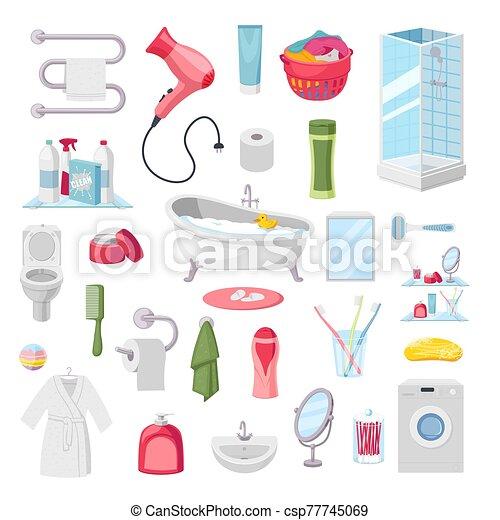 Bathroom accessories personal hygiene items, vector illustration - csp77745069