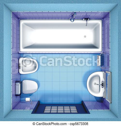 3d Rendering Bathroom Blue Top
