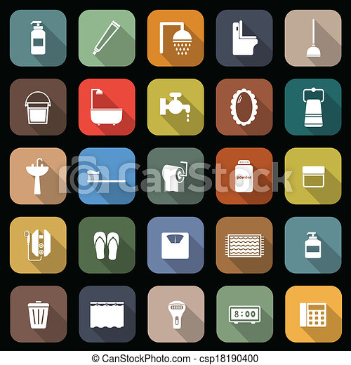 Bathroom flat icons with long shadow - csp18190400