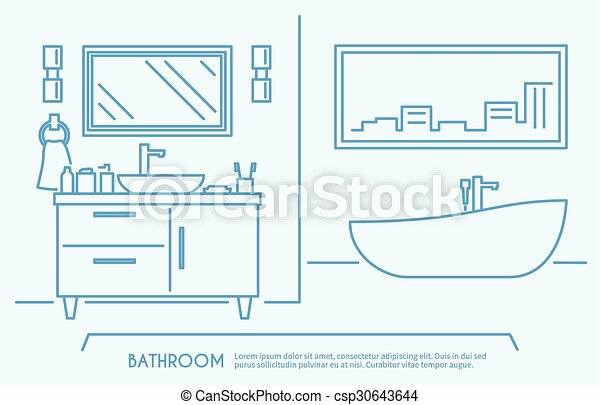 Bathroom Furniture Outline Poster With