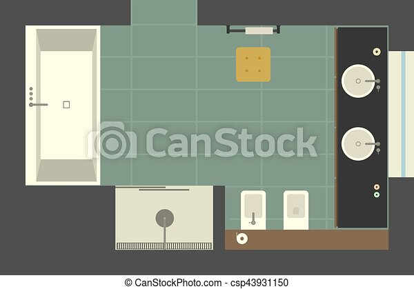 Bathroom In Flat Style Top View Vector Illustration Of With Two Sinks Bath And Shower