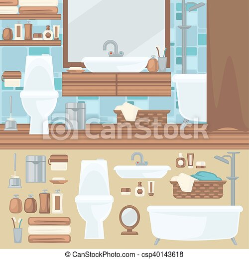 Bathroom Interior Design Accessories And Furniture Set Elements For Bathroom Bath Toilet And Shower Mirror And Sink