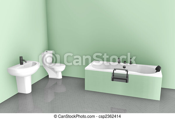 Bathroom Interior Design On Tub Sink And Toilet Drawing