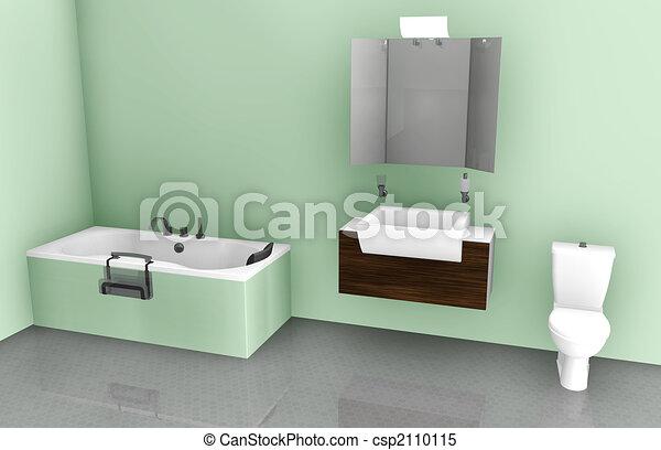 Bathroom Plumbing 101 Interior bathroom interior design on tub, sink and toilet stock