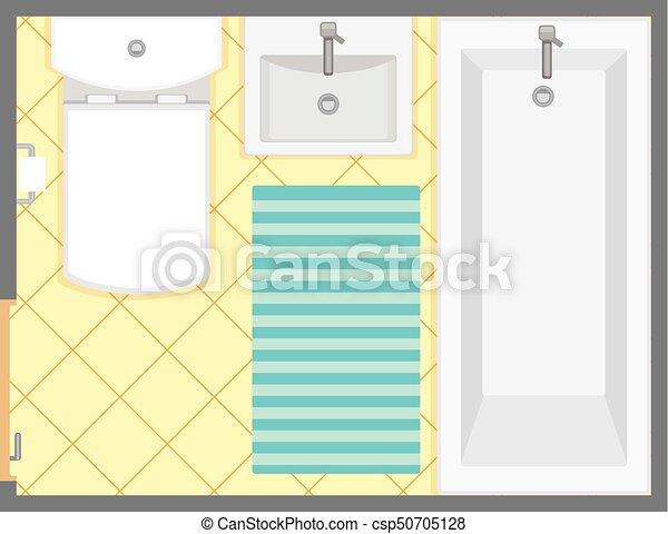 Bathroom Interior Top View Vector Illustration Floor Plan Of Restroom Flat