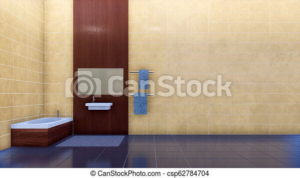 Bathroom interior with copy space beige tiled wall - csp62784704