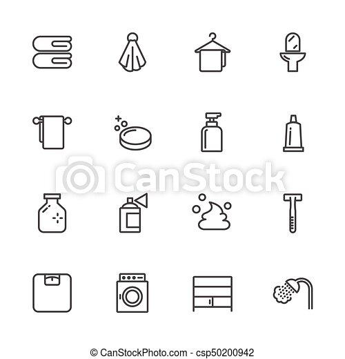 Bathroom Lines Icons. Vector outline icon. - csp50200942