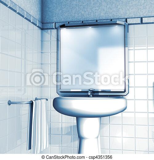 3d Illustration Render Bathroom Mirror And Sink