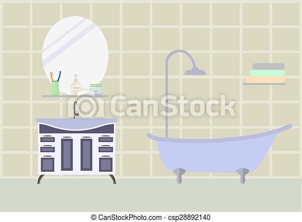 Bathroom room with furniture - csp28892140