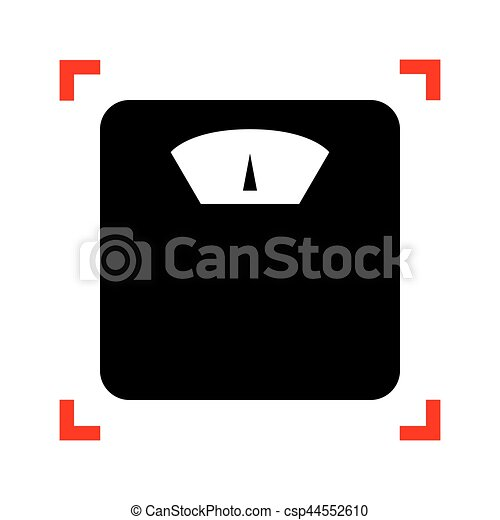 Bathroom Scale Sign Black Icon In Focus Corners On White Background Isolated