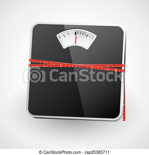 Bathroom scale with a measuring tape. Vector - csp25383711