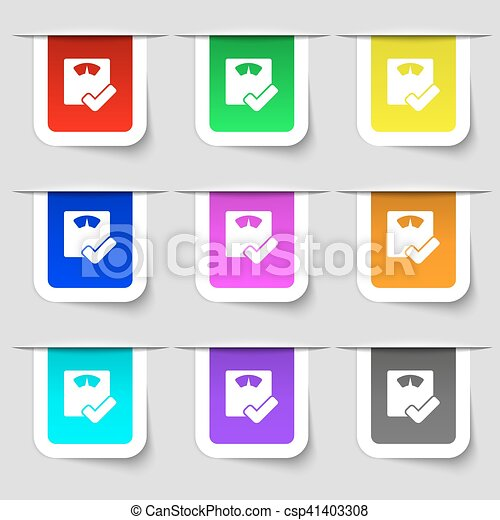 bathroom scales icon sign. Set of multicolored modern labels for your design. Vector - csp41403308