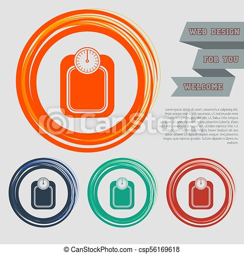 bathroom scales weighing calorie kilos kilogram icon on the red, blue, green, orange buttons for your website and design with space text. Vector - csp56169618