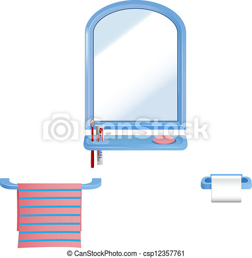 Bathroom Set Vector Elements In For Kids Isolated On