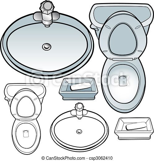Bathroom Set Toilet Sink Soapdish Isolated On A White Vector