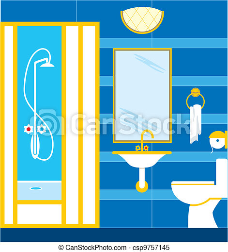 Bathroom Shower Cabin Vector Illustration Color Full