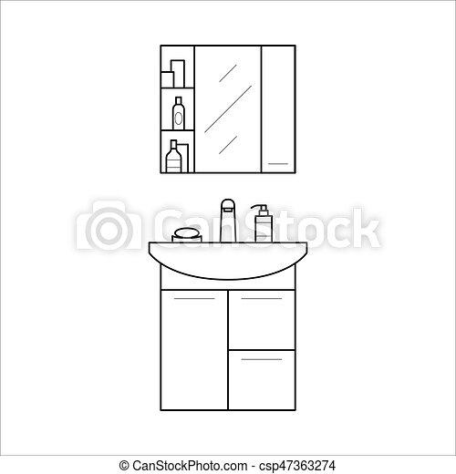 Bathroom Sink And Shelf Home Furniture Lineart Design Interior Concept