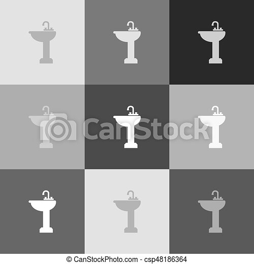 Bathroom Sink Sign Vector Grayscale Version Of Popartstyle Icon Interesting Bathroom Sign Vector Style