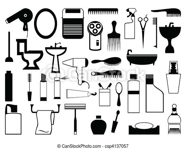 bathroom., sylwetka, wektor, motywy, ilustracja - csp4137057