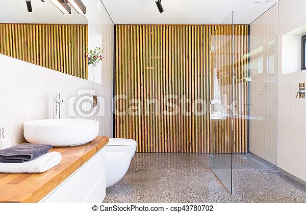 Bathroom with wooden divider idea - csp43780702