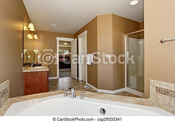 Bathtub., maestro, cuarto de baño, lujo. Cuarto de baño, grande ...