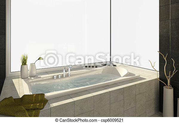 bathtub with views - csp6009521