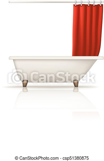 bathtube red curtain - csp51380875