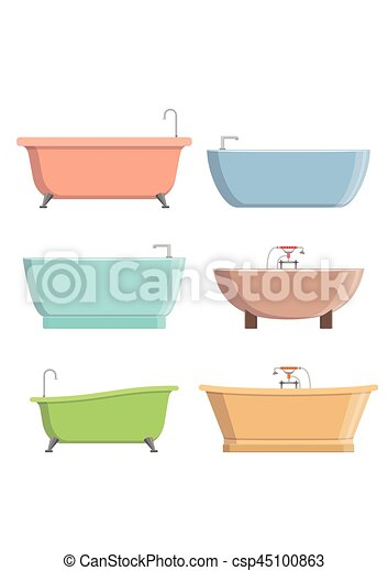 Bathtubs of different style and shape set isolated on white background vector illustration - csp45100863