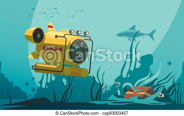 Bathyscaphe Diving Flat Composition - csp93003457